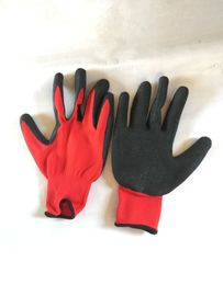 Cut Resistant Rubber Work Gloves , Safety Rubber Dipped Work Gloves Red - Black Coated